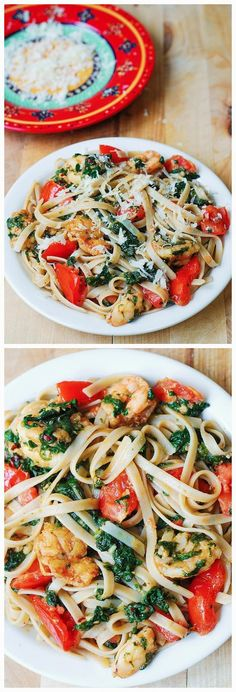Shrimp, Tomato, and Spinach Pasta in Garlic Butter Sauce ~ All Kind of Greatness