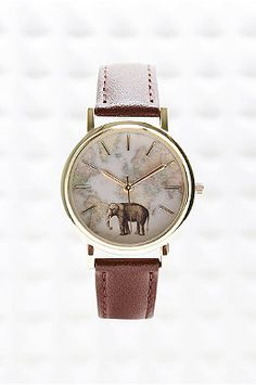 Globe Face Watch with Leather Strap in Tan - Urban Outfitters