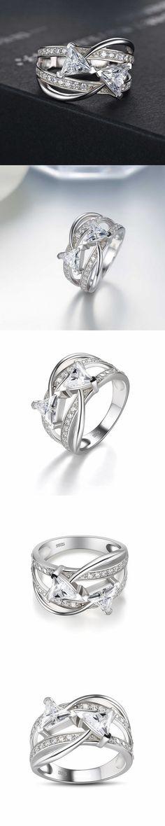 Lajerrio Jewelry Trillion Cut White Sapphire S925 Engagement Ring