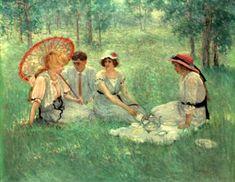 Tea On The Grass - Dawson Dawson-Watson (1864 – 1939)