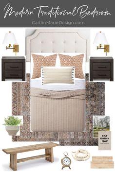 Modern Traditional Decor, Traditional Bedroom Decor, Guest Room Decor, Master Bedroom Makeover, Guest Bedrooms, Blue Bedrooms, Minimalist Home, Home Bedroom, Teen Bedroom