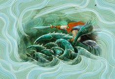 """Manannán Mac Lir (Mac Lir meaning """"son of the sea"""") is a sea deity in Irish mythology. He is affiliated with both the Tuatha Dé Danann and the Fomorians. In the tales, he is said to own a boat named Scuabtuinne (""""Wave Sweeper""""), a sea-borne chariot drawn by the horse Enbarr, a powerful sword named Fragarach (""""The Answerer""""), and a cloak of invisibility (féth fíada). He is seen as the guardian of the Otherworld and one who ferries souls to the afterlife."""