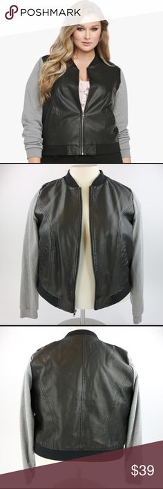 f3f0bfc3f7812 Torrid Faux Leather Bomber Jacket Excellent used condition vegan leather  bomber jacket by Torrid. Sweatshirt