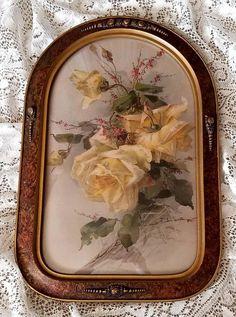 Roses Print Catherine Klein Convex Glass Antique Frame at VictorianRosePrints on etsy.com