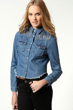 Poppy Cropped Denim Jacket With Studded Trim Cropped Denim Jacket, Online Shopping Clothes, Chambray, Latest Fashion Trends, Poppy, Boohoo, Collars, Blouses, Jackets