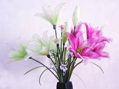 Nylon Flower Lily Arrangement (Vase not included) via Etsy