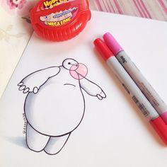 Oh my gosh this is so cute! Bubblegum by DeeeSkye on DeviantArt Disney Drawings Sketches, Cute Cartoon Drawings, Easy Drawings, Cartoon Art, Bmax Disney, Arte Disney, Baymax Drawing, Disney Doodles, Pinturas Disney