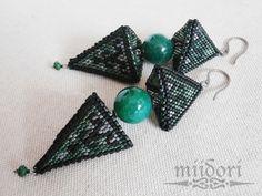 beaded earrings, 3D, jade, triangles Triangles, Beaded Earrings, Beadwork, Jade, Jewelry, Instagram, Jewlery, Jewerly, Pearl Embroidery
