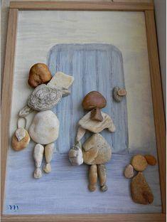 """""""Másokat megajándékozni akkor a legértékesebb, ha azt halkan és önzetlenül tesszük."""" Forrás: Daniel Gottlieb: Drága Sam! Stone Crafts, Rock Crafts, Shadow Box Art, Driftwood Crafts, Stone Pictures, Rock Design, Sea Glass Art, Shell Art, Outdoor Art"""