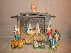 Vintage CRECHE NATIVITY SET with Manger  by PastPossessionsOnly, $74.95