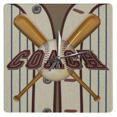 Coach Baseball and Bats Square Clock by tjssportsmania