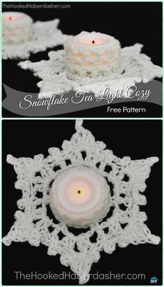 Crochet Snowflake Tealight Holder Free Pattern