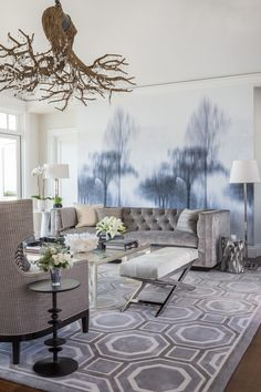 Cool gray tones in this living room   Ann Lowengart Interiors
