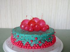pink-turquoise birthday cake for teen girl