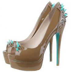 Taupe & Turquoise High Heels