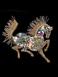 Art Creations by CJ are one-of-a-kind vintage jewelry wall art & fashion creations ~ No two are ever the same ~ This gorgeous ornate horse,