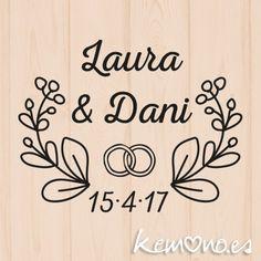 sello boda floral 4 Wedding Logos, Monogram Wedding, Wedding Cards, Wedding Invitations, Floral Embroidery Patterns, Hand Embroidery, Wedding Ring Cushion, Writing Art, Ideas Para Fiestas
