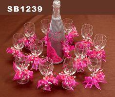 copas para brindis de quinceaneras decoradas | AC Set de brindis con 12 copas - Quinceañeras Wedding Inc.