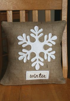 Rustic Burlap Snowflake Pillow Sham by ShabbyByMelissa on Etsy, $24.00