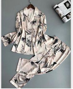 QWEEK Women Pajamas Satin Sleepwear Pijama Home Wear Silk Pyjama Home Suit Flower Print Sweet Cute Home Clothing Sleep Lounge Satin Sleepwear, Satin Pyjama Set, Satin Pajamas, Sleepwear Women, Pajama Set, Pajamas For Teens, Cute Pajamas, Pajamas Women, Womens Pyjama Sets