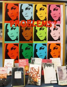 Very bright and easy idea. Use for Teen Problems display -- eating disorders, bullying, self-mutilation, drugs/alcohol, pregnancy. School Library Displays on Blogspot.