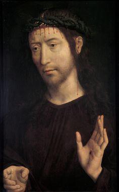 Hans Memling (Seligenstadt, ca. 1435 - Bruges, 1494). Cristo benedicente, Olio su tavola, cm. 55,8 x 75,3. Musei di Genova. http://www.museidigenova.it/spip.php