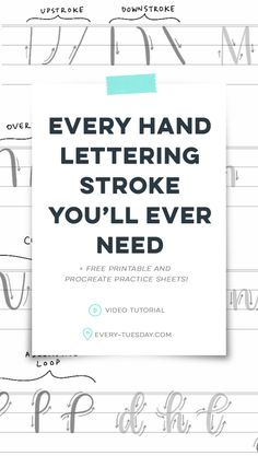 Every Hand Lettering Stroke You'll Ever Need (+ Free Practice Sheets!) – Every-Tuesday - hand lettering Hand Lettering For Beginners, Hand Lettering Styles, Hand Lettering Practice, Hand Lettering Tutorial, Hand Lettering Alphabet, Creative Lettering, Brush Lettering, Calligraphy For Beginners Worksheets, Calligraphy Practice Sheets Free