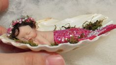 OOAK POLYMER CLAY BABY GIRL MERMAID IN REAL SHELL! SWEET MERBABY! 3 DAYS!
