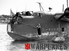 Sunderland RAAF close-up at Sydney, Australia while being anchored. The nose…