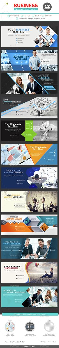Business Facebook Cover Bundle - 12 Designs - #Facebook #Timeline Covers #Social Media Download here:  https://graphicriver.net/item/business-facebook-cover-bundle-12-designs/14637558?ref=alena994