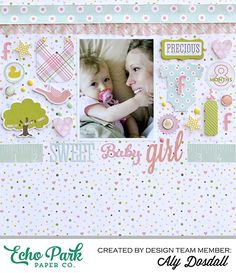 *Echo Park* Sweet Baby Girl - Scrapbook.com Love the little collection of baby girl symbols.