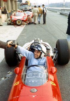 John Surtees testing his Ferrari 312 at Monza before the Monza 1000Km race…