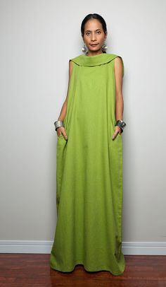 Linen Maxi Dress / Sleeveless Dress with hood : The Soul of the Orient Collection No.4 on Etsy, $69.00