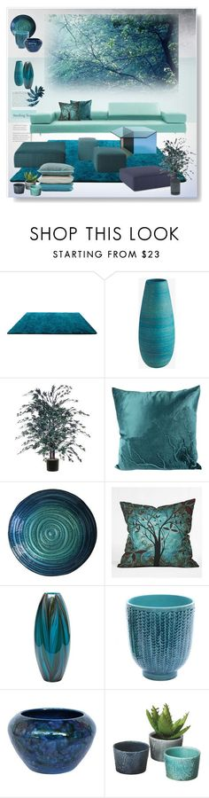 """Living Space"" by snowbell on Polyvore featuring interior, interiors, interior design, home, home decor, interior decorating, Tiffany & Co., DENY Designs, Cyan Design and Dot & Bo"