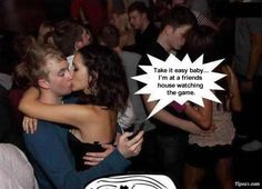 Guy kissing girl while cheating on his mobile phone