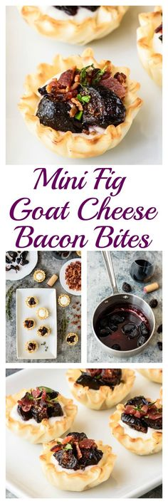 Mini Fig Goat Cheese Bacon Bites. Everyone will flip for this easy but impressive holiday appetizer recipe!