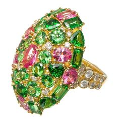 Tsavorite Garnet Pink Spinel Diamond Gold Cocktail Ring