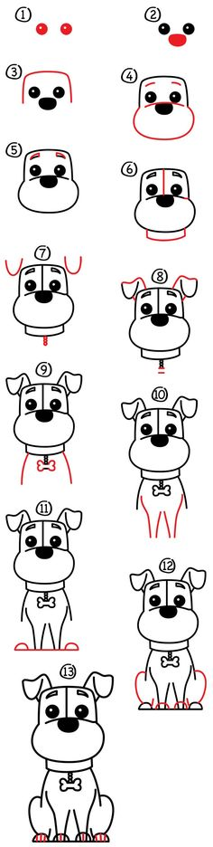 This Chinese New Year is the year of the dog. Here is how to draw one in your bu… Dieses chinesische Neujahr ist das Hundejahr. So zeichnen Sie es in Ihr Tagebuch. Easy Drawings For Kids, Drawing For Kids, Drawing Ideas, Drawing Pics, Puppy Drawing, Sketch Ideas, Drawing Art, Drawing Sketches, Sketching