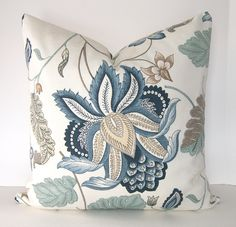 Both Sides Decorative Pillow Cover Blue Fl 24x24 Or 26x26 Inch Euro Sham