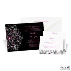 Mod Medallion Wedding Invitation - Fuchsia