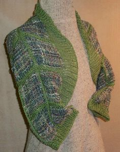 The simplest garment to make is a shrug! Basicly it's an 18 x 24 rectangle with sleeves added, and rib-knit trim knit on the outside loops of the pin loom squares.