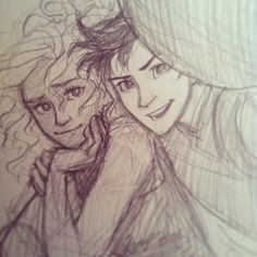 """percy, your thumb is covering the camera lens."" Burdge Selfie: Percy and Annabeth by burdge"
