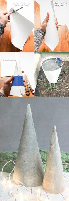 tüte aus papier machen, beton gießen, betontüten, gartendeko (Diy Decoracion)