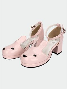c7bf466553d1 New Arrivals Pale Pink Shiny Leather Kawaii Rabbit Ankle Strap Sweet Lolita  Shoes Heel Pumps 8623