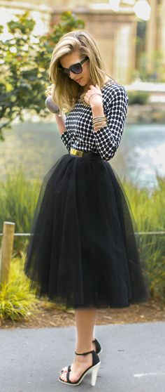 black tulle skirt + checkered blouse