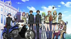 From left to right: Rivalz, Arthur (the black cat on the bike), Kallen, Sayoko, Suzaku, Lelouch, C.C., Shirley, Milly, Nina, and Nunnally.