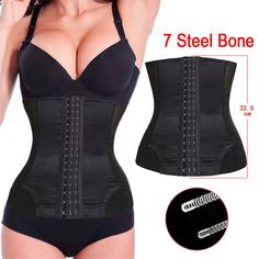 7 Spiral Steel Boned Shapewear Waist Trainer Body Shaper Cincher Underbust Waist Trainer Corset Black Hot Shaper for Women