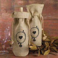 Burlap Wine Bag - Globe with Heart
