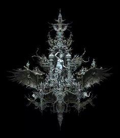 "frrmsd: Sculptor & Artist: Kris Kuksi ""Ascension of Eos"" Mixed Media Assemblage h x w x d 2014 Arte Obscura, Macabre Art, Artistic Installation, High Art, Gothic Art, Art Plastique, American Artists, Dark Art, Drawing"