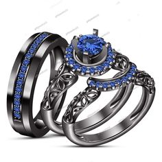 Brilliant Blue Sapphire His & Her Trio Wedding Ring Set 14k Black Gold Finish
